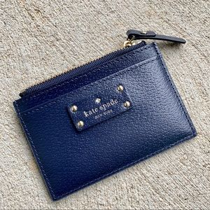 Kate Spade Navy Leather Zip Wallet NWT